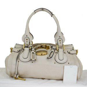 CHLOE Logo Paddington Shoulder Bag Leather Ivory